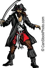 pirata, spada, mascotte, standing
