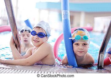 piscina, gruppo, bambini, felice