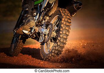 pista, azione, enduro, motocicletta, sporcizia