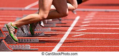 pista, campo, sprint, inizio