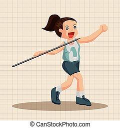 pista, campo, tema, elementi, atleti