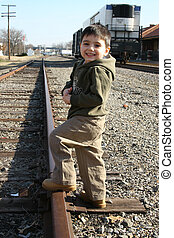 pista, ragazzo, treno
