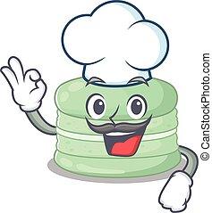 pistacchio, macaron, cappello, chef, carattere, bianco, il portare, cartone animato, lavorativo