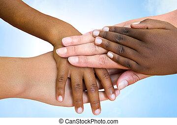 piste, umano, hands., accoppiamento