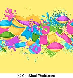 pistole, blots, holi, colorito, border., macchie, secchi, seamless, illustrazione, acqua, vernice, bandiere, felice