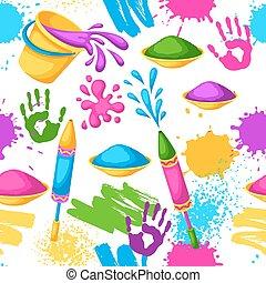 pistole, blots, holi, colorito, macchie, secchi, pattern., seamless, illustrazione, acqua, vernice, bandiere, felice