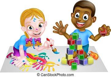 pittura, blocchi, gioco, bambini