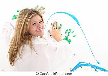 pittura, donna, adolescente