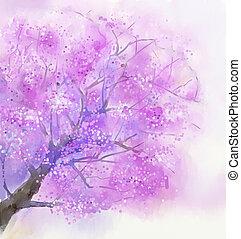 pittura, fiore, acquarello, ciliegia