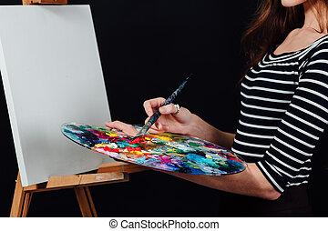 pittura, fondo., ragazza, text., carino, nero, immagine, tela, easel., studio, bello, artista, spazio