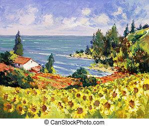 pittura, mare, paesaggio