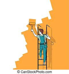 pittura, occupato, lavoro, uomo, parete