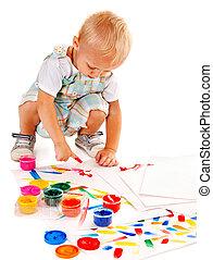 pittura, paint., dito, bambino