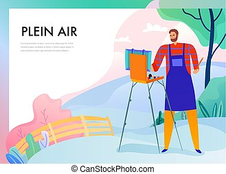 pittura, plein, illustrazione, aria