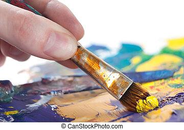 pittura, qualcuno, qualcosa, pennello