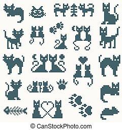 pixel, vettore, set, retro, gatto