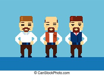 pixelated, barbuto, uomo affari, collezione