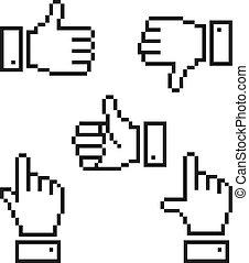 pixelated, mano, icons., set