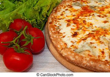 pizza formaggio, cibo, board., quattro