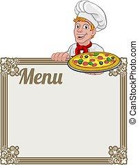pizza, menu, uomo, segno, fondo, cuoco, cartone animato, chef