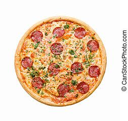 pizza pepperoni, isolato