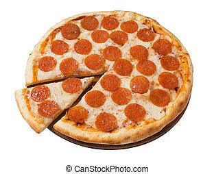 pizza, saporito, pepperoni, isolato