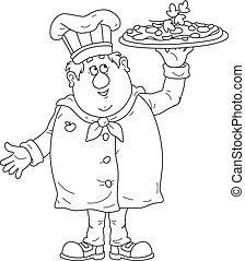 pizza, sorridente, saporito, cuoco