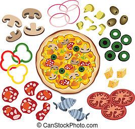 pizza, vettore, disegno, tuo, ingredienti