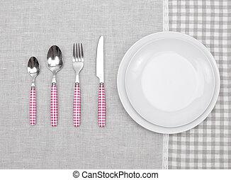 placchi cucchiaio, vuoto, forchetta, coltello