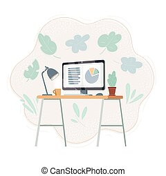 place., lavoro, illustrazione, scrivania, lavorativo, vettore, ufficio, mostra
