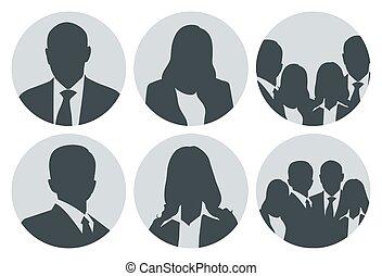 placeholder, persone, set, immagine, affari