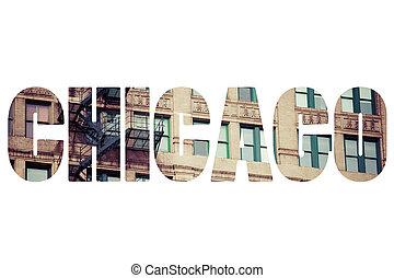 places., sopra, chicago, parola, famoso