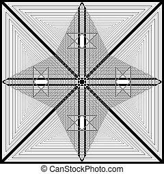 plaid, quadrato, triangolo, arte, satelite, astratto, come, taglio, imperiale, struttura, deco, arabesco, ispirare, gioco, illustrazione, illusione