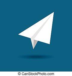 plane., carta, vettore, origami, aeroplano, simbolo