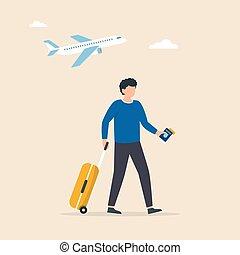 plane., illustrazione, uomo, viaggiatore, camminare, suitcase., turista, ruota, imbarco, vettore, andare, attraverso, aeroporto