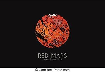 planet., creativo, pianeta, marte, logo., rosso