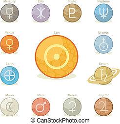planetario, icone, pacco