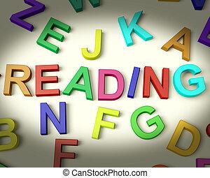plastica, bambini, lettere, variopinto, scritto, lettura