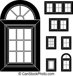 plastica, finestra, vettore, nero, icone
