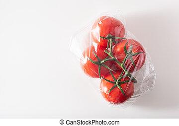 plastica, imballaggio, verdura, borsa, pomodori, singolo, uso, issue.