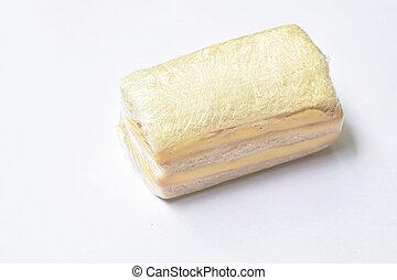 plastica, panino, fondo, formaggio, prosciutto, bianco, chiaro, imballaggio, imbottito