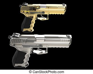 platino, oro, semi, auto, moderno, -, pistole, lato