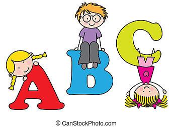 playing., alfabeto, bambini
