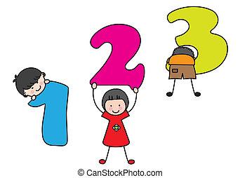playing., bambini, numeri