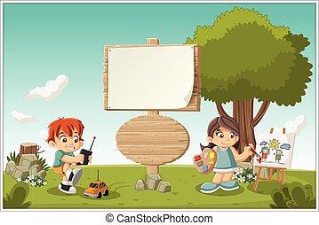playing., cartone animato, bambini