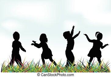 playing., silhouette, bambini