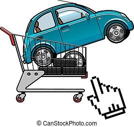 pneumatici, automobile, carrello