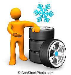 pneumatici, automobile, ruote, neve, manichino