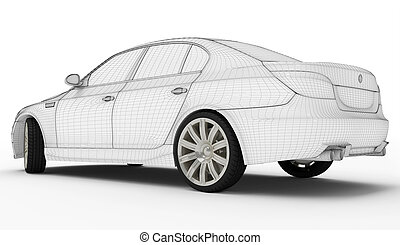 pneumatici, automobile, wireframe, -