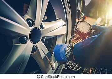 pneumatico, automobile, pressione, assegno